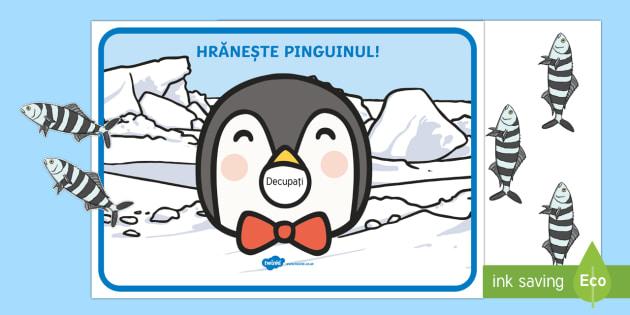 Hrănește pinguinul! - Joc de numerație - animale polare, română, jocuri, materiale, numerație, numără, exeresarea numerației, exersarea