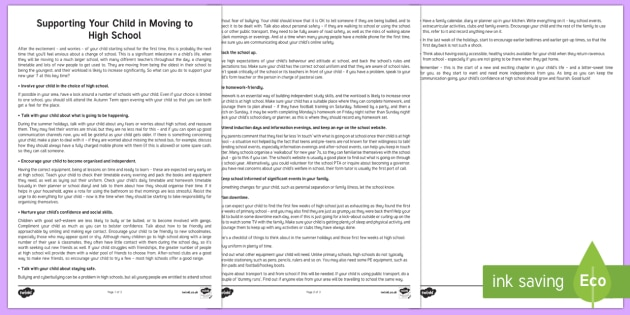 Supporting Your Child in Moving to High School Parent and Carer Information Sheet - wellbeing, parents, carers, support, emotional health, mental health, relationships, school, teacher