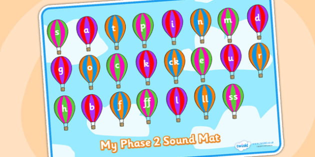 Phase 2 Sound Mat on Hot Air Balloons - Sound Mat, Letters and Sounds, DfES Letters and Sounds, Phase 2, Phase two, Foundation, Literacy, Mnemonic Images