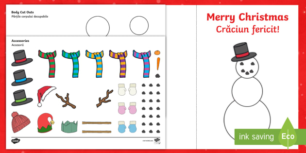 Design Your Own Snowman Christmas Cards English/Romanian - xmas, Happy Christmas, tree, snowman, cards, card, make your own christmas card, olaf, card craft, E