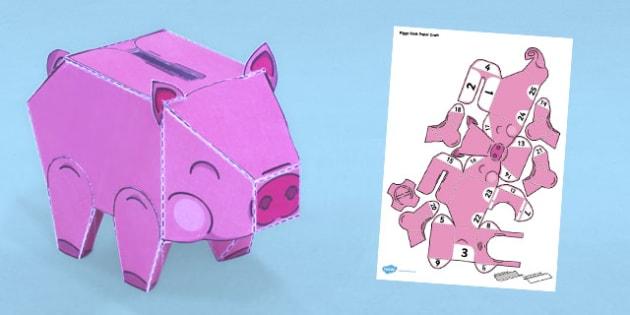Simple Piggy Bank Paper Craft - piggy bank, craft, paper, model