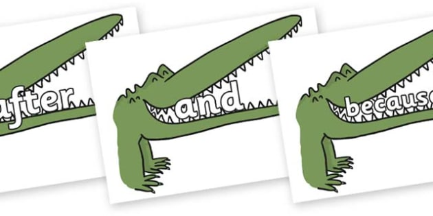 Connectives on Enormous Crocodile to Support Teaching on The Enormous Crocodile - Connectives, VCOP, connective resources, connectives display words, connective displays