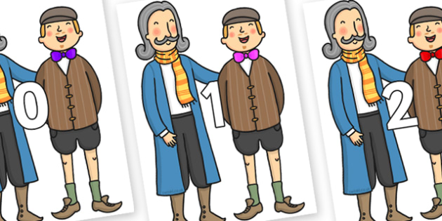Numbers 0-31 on The Emperors New Clothes Strangers - 0-31, foundation stage numeracy, Number recognition, Number flashcards, counting, number frieze, Display numbers, number posters