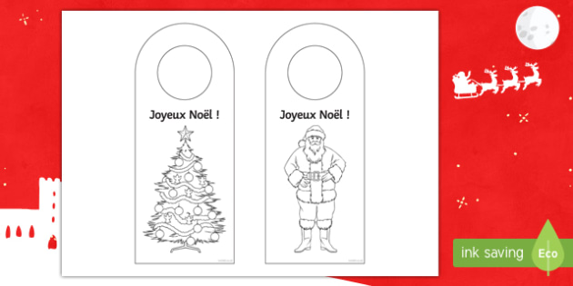 Christmas Door Hanger Colouring Activity Sheet French