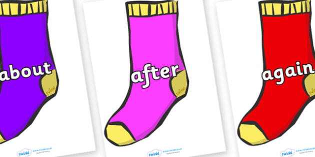 KS1 Keywords on Socks - KS1, CLL, Communication language and literacy, Display, Key words, high frequency words, foundation stage literacy, DfES Letters and Sounds, Letters and Sounds, spelling