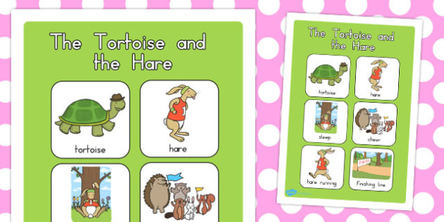 The Tortoise and the Hare Vocabulary Poster - posters, display