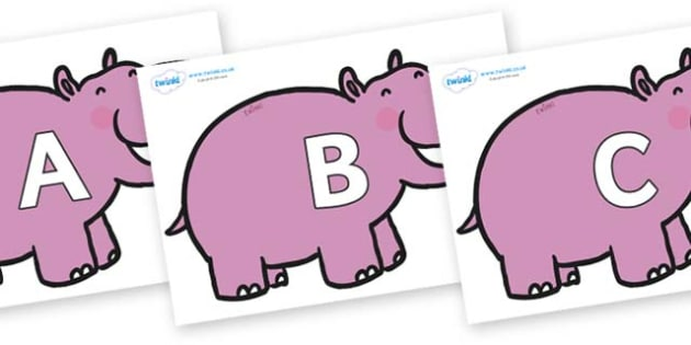 A-Z Alphabet on Hippos - A-Z, A4, display, Alphabet frieze, Display letters, Letter posters, A-Z letters, Alphabet flashcards