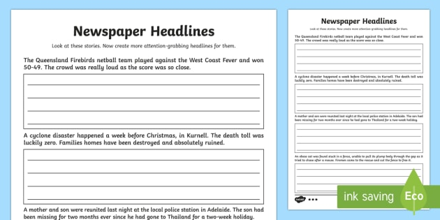 writing headlines for newspapers
