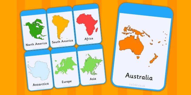 Continent Flash Cards - continent, flash cards, cards, flashcards