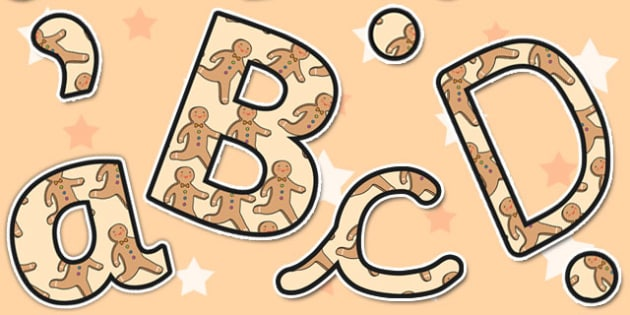 The Gingerbread Man Themed Size Editable Display Lettering - size
