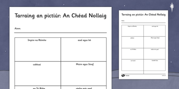 Tarraing an pictiúr: An Chéad Nollaig Activity Sheet Gaeilge - gaeilge, nativity, words, read, draw, activity, worksheet