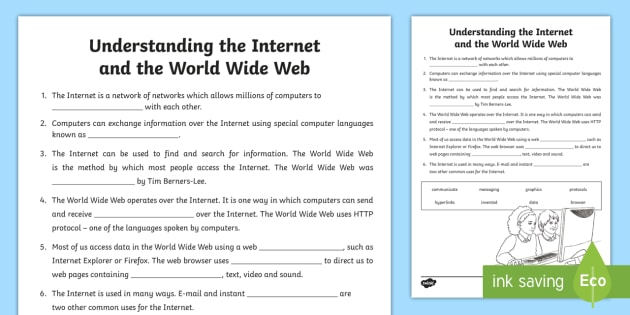 Understanding The Internet And The World Wide Web Cloze Passage