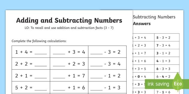 Number Facts Worksheet 3-7 - number, facts, worksheet, 2, 7, math