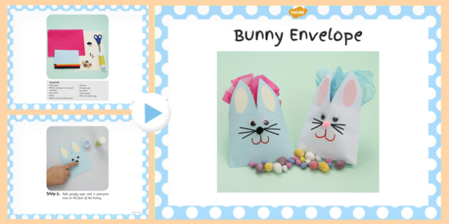 Bunny Envelope Craft Instructions PowerPoint - powerpoint, craft