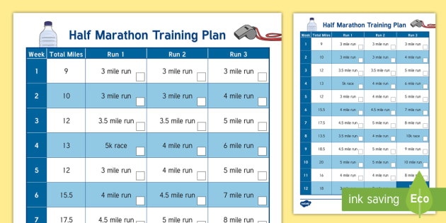 Novice Half Marathon Training Plan Display Calendar - Well Being - Running Resources, half marathon, 13.1, running, fitness, long run