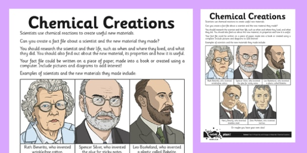 Chemical Creations Worksheet / Activity Sheet - irreversible, change, reaction, material, scientist, worksheet
