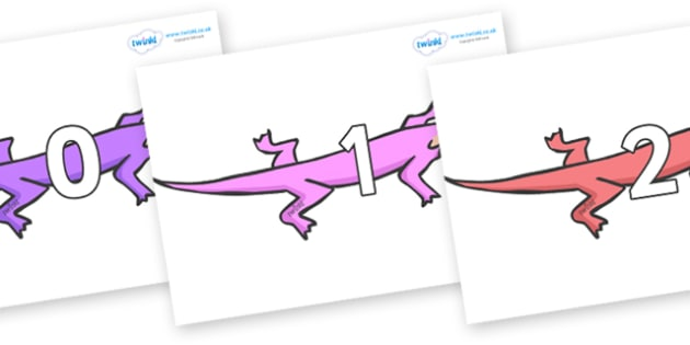 Numbers 0-100 on Lizards - 0-100, foundation stage numeracy, Number recognition, Number flashcards, counting, number frieze, Display numbers, number posters
