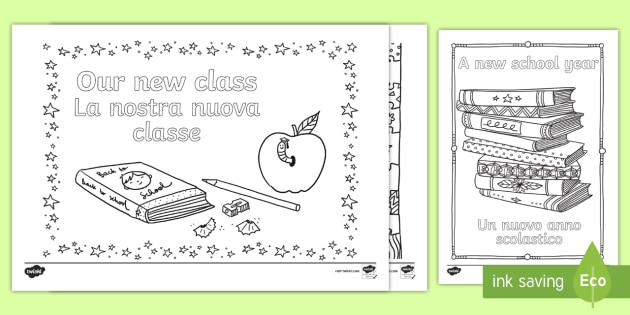 Back to School Themed Mindfulness Colouring English/Italian - returning, new starters, academic year, ks1, ks2, art, colour, in the lines,mindfullness,minfulness,