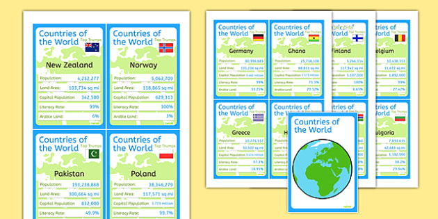 Countries of the World Card Game - countries, world, top trumps
