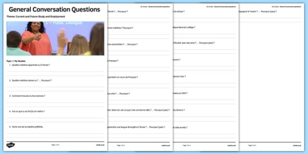 General Conversation Question List My Studies - french, Conversation, Speaking, Questions, Studies, Education, School, Subjects, Éducation, École, Matière