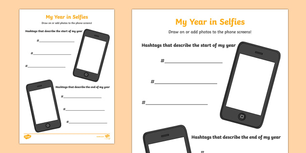 Start and End of Year Selfies Worksheet / Activity Sheet