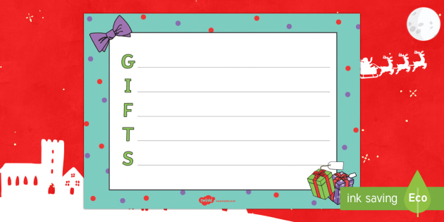 Christmas Gifts Acrostic Poem