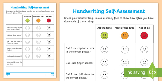 Writing Self Assessment Worksheet  Activity Sheet  Writing