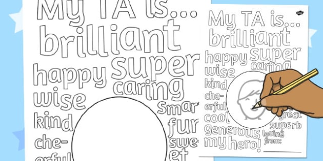 Gift to TA Describing Words Drawing and Colouring Sheet - colouring