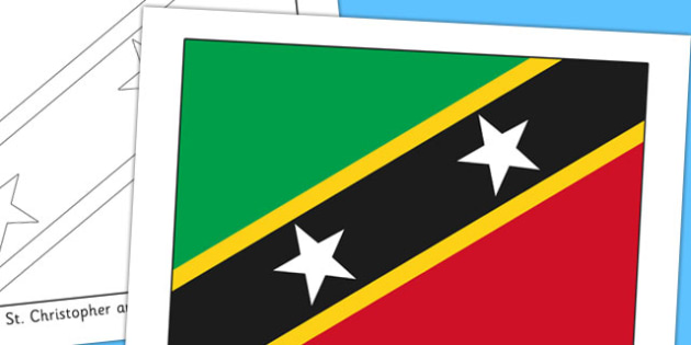 St Christopher and Nevis Flag Display Poster - countries, flags
