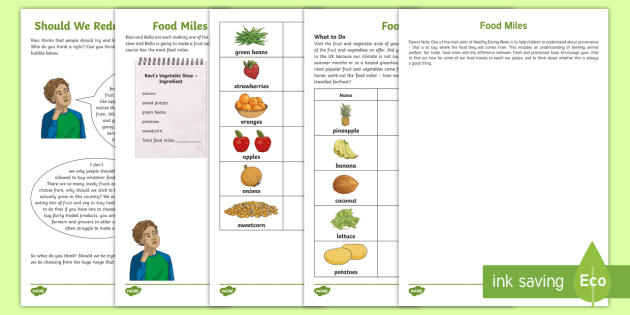 KS2 What Are Food Miles? Worksheets - sustainability ...
