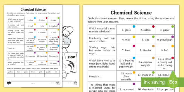 year 2 chemical science questions and colouring worksheet worksheets. Black Bedroom Furniture Sets. Home Design Ideas