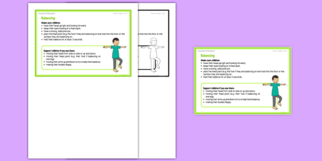 Foundation PE (Reception) - Balancing Teacher Support Card - EYFS, PE, Physical Development, Planning