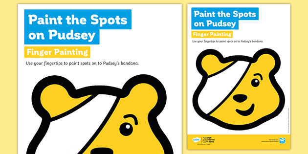 BBC Children in Need Paint the Spots on Pudsey Finger Painting Worksheet