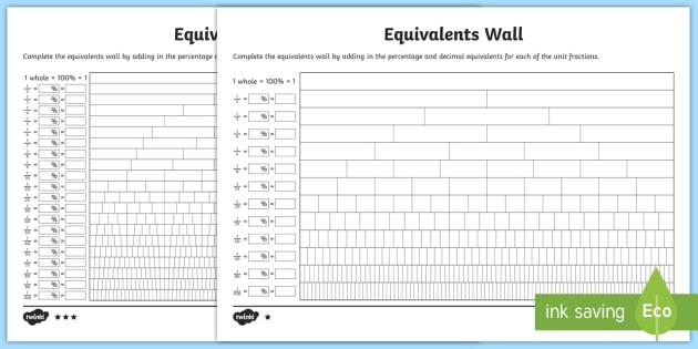new  equivalents wall worksheet  maths ks worksheet worksheet new  equivalents wall worksheet  maths ks worksheet worksheet  fraction