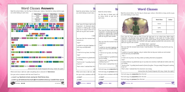 KS2 Recognising Word Classes Differentiated Worksheets