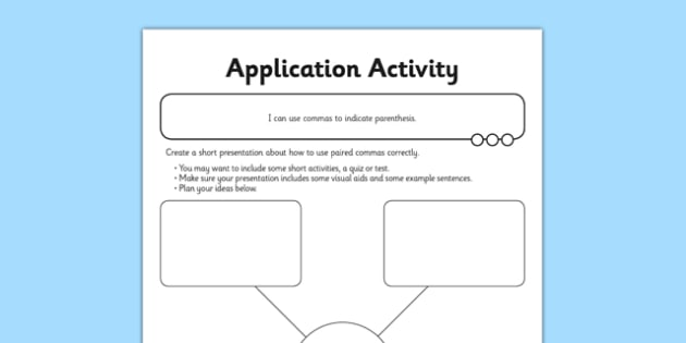 Commas to Indicate Parenthesis Application Activity Sheet - GPS, spelling, grammar, embedded clauses, worksheet
