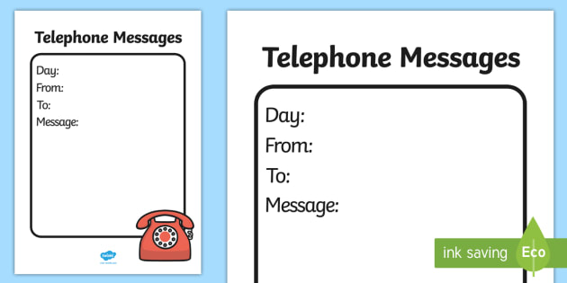 General telephone message template home corner writing role for Telephone memo template