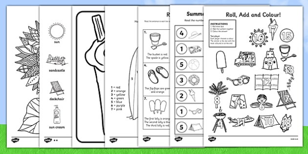 Summer Holiday Colouring Activity Pack