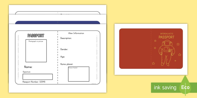 Space Passport Writing Template - role play, writing templates