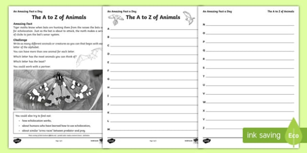 The A to Z of Animals Worksheet / Activity Sheet, worksheet