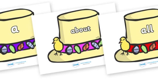 100 High Frequency Words on Easter Bonnets - High frequency words, hfw, DfES Letters and Sounds, Letters and Sounds, display words