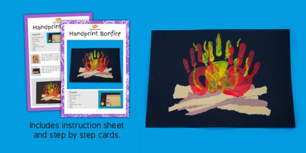 Handprint Bonfire Craft Instructions - handprint, bonfire, craft, instructions