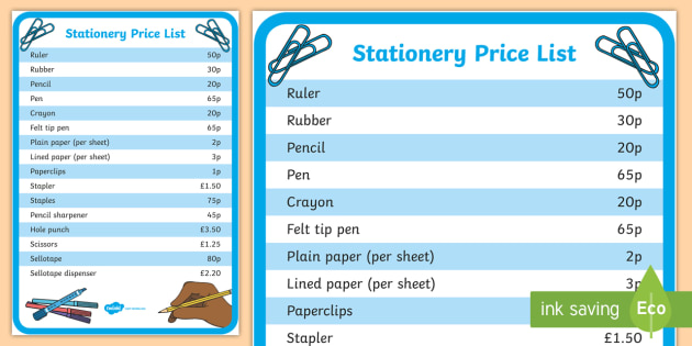 Stationery Price List Shop Stationery Pencil Paper Pens