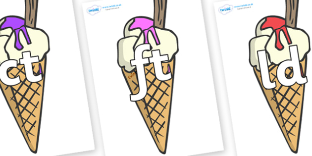 Final Letter Blends on Ice Cream Cones to Support Teaching on The Very Hungry Caterpillar - Final Letters, final letter, letter blend, letter blends, consonant, consonants, digraph, trigraph, literacy, alphabet, letters, foundation stage literacy