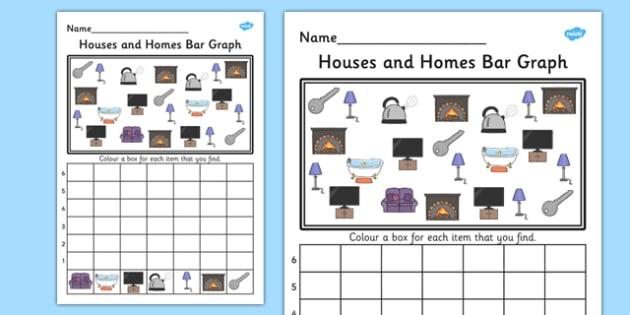 Houses and Homes Bar Graph Activity Worksheet - graph, activity