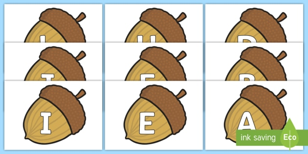 A-Z Alphabet on Brown Acorns - A-Z, A4, display, Alphabet frieze, Display letters, Letter posters, A-Z letters, Alphabet flashcards