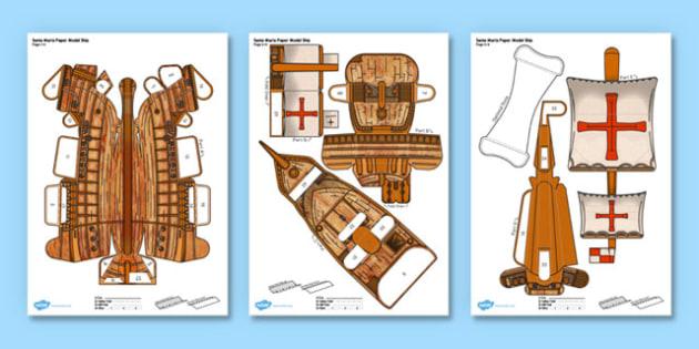 Columbus Day The Santa Maria Ship Paper Model