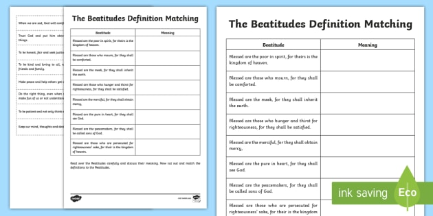 the beatitudes definitions worksheet activity sheet cfe. Black Bedroom Furniture Sets. Home Design Ideas