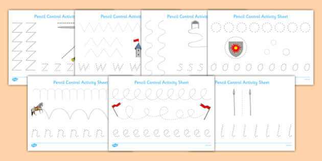 Castles And Knights Pencil Control Worksheet Activity Sheet