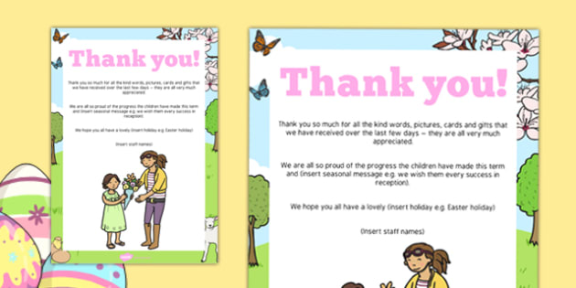 Easter Editable End of Term Thank You Poster - easter, end, term